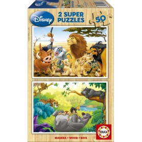 PUZZLE DE MADERA ANIMAL FRIENDS DISNEY 2X50PZ