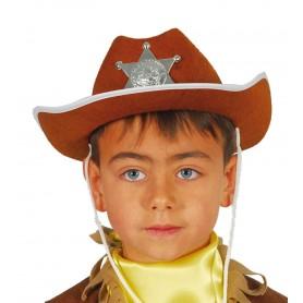 SOMBRERO SHERIFF INFANTIL MARRON