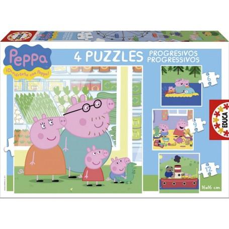 PUZZLES PROGRESIVOS PEPPA PIG  6 + 9 + 12 + 16 PZA