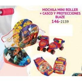 CONJUNTO MOCHILA PATINES Y CASCO BLAZE AND THE MONSTER MACHINES