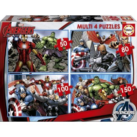 PUZZLE MULTI 4 PUZZLES 50-80-100-150 AVENGERS