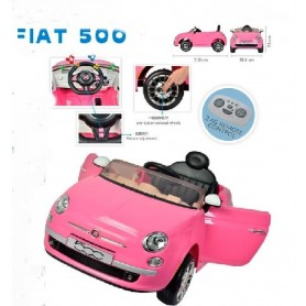 COCHE FIAT 500 ROSA 12V BATERIA